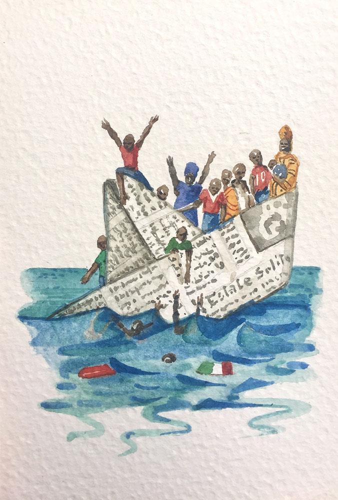 20. 4. 20 Una barca di parole (cm 15x10 acquerello su carta)
