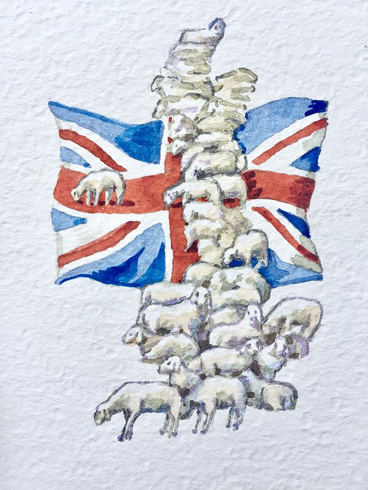 15. 3. 20 God save the sheep (cm 15x10 acquerello su carta copia)